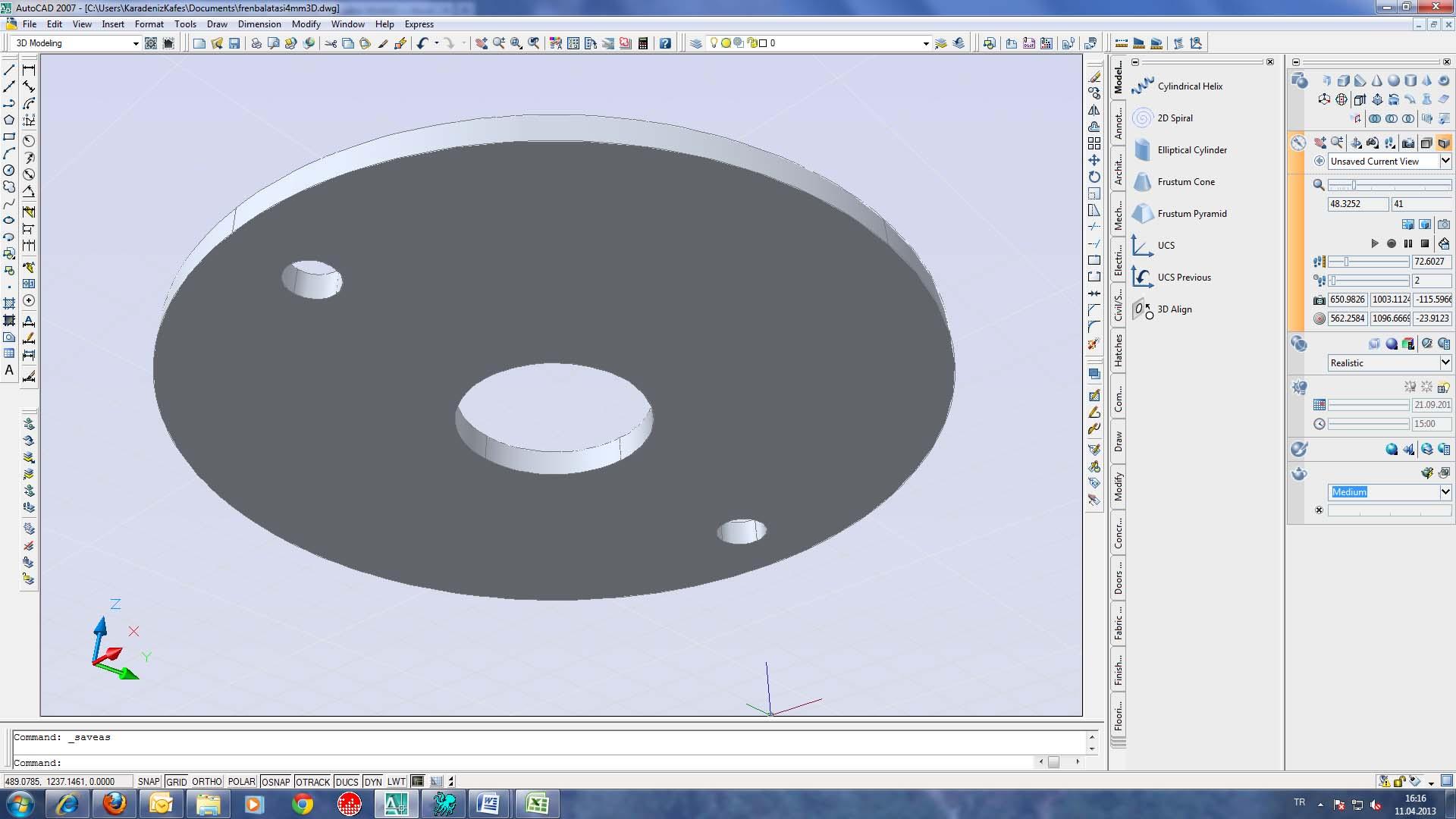 Autocad 3D ile Çalışmak